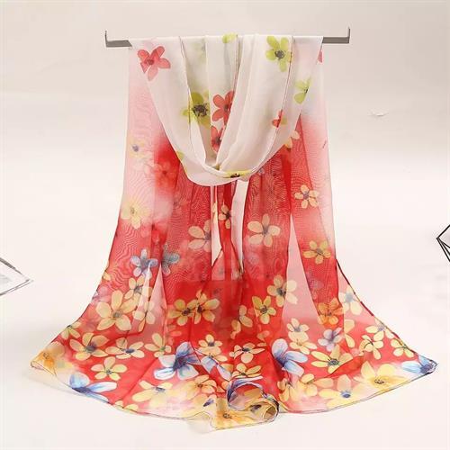 Let tørklæde, rød blomstret
