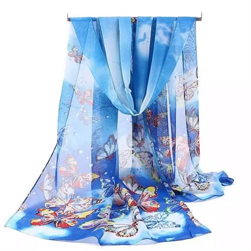 Tørklæde sommerfugle, blå