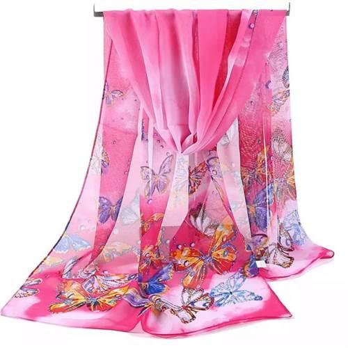 Tørklæde sommerfugle, pink