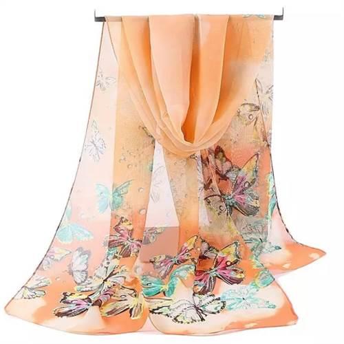 Tørklæde sommerfugle, orange