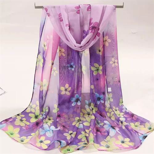 Let tørklæde, lilla blomstret