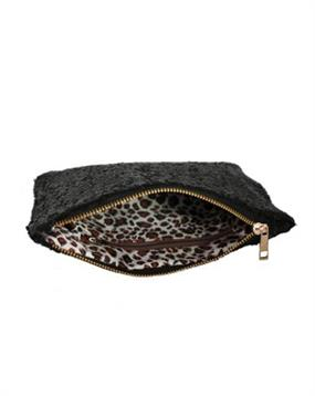 Stor sort clutch med pailletter og leopardstof
