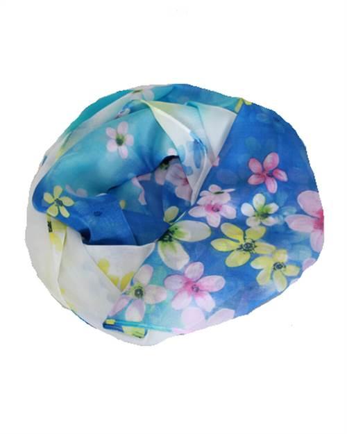 Blomstret tørklæde, blå