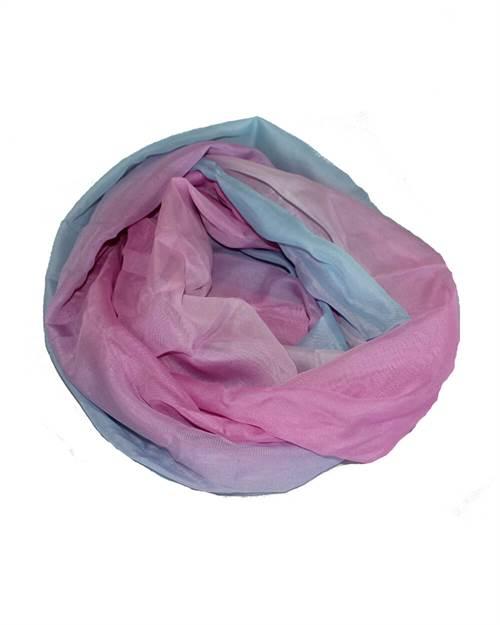 Tofarvet tørklæde, blå/lyserød