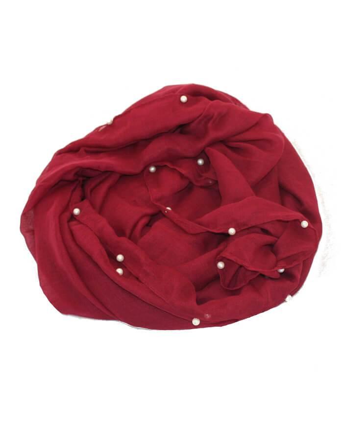dd55fbc4a34 Bestil rødt tørklæde med perler langs kanten online idag!