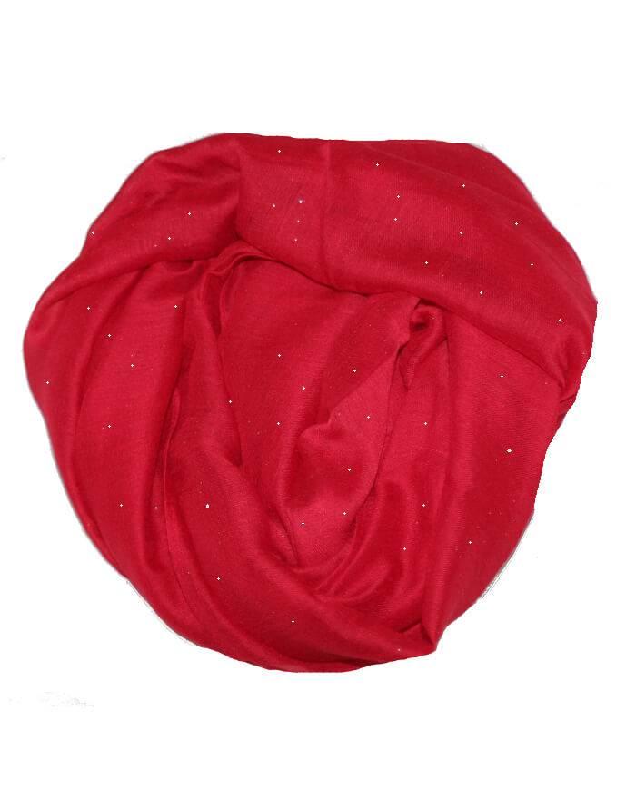 75e426b7fd7 Køb smukt rødt tørklæde med tyndt lag guld glitter
