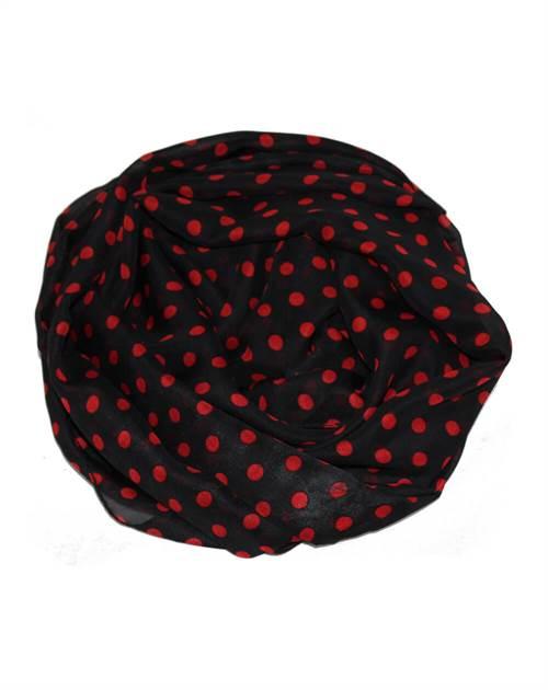 Prik tørklæde sort/rød